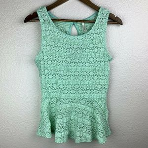 Light pastel mint all over lace tank